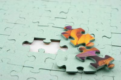 Close up of the last empty piece in a jigsaw puzzle