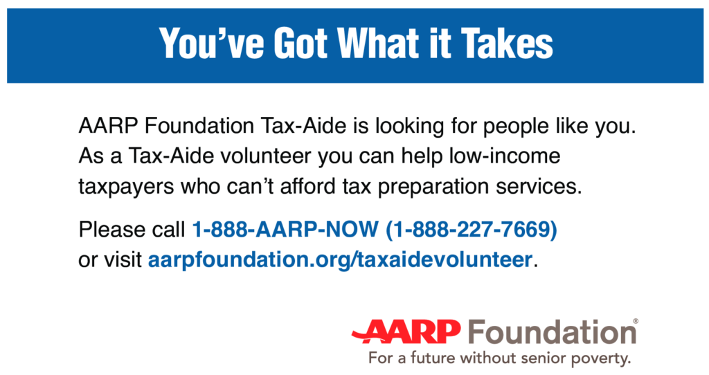Descriptive text for the AARP Foundation Tax-Aide with phone number and website to volunteer